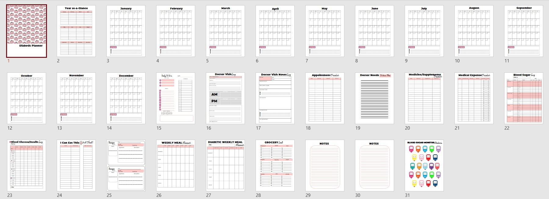 Diabetic Planner Commercial Use Template