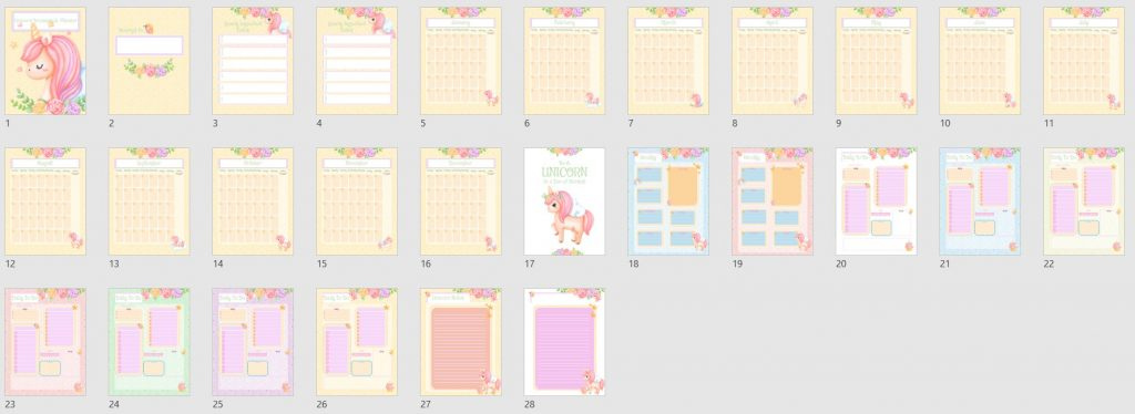 Unicorn Planner PLR Template