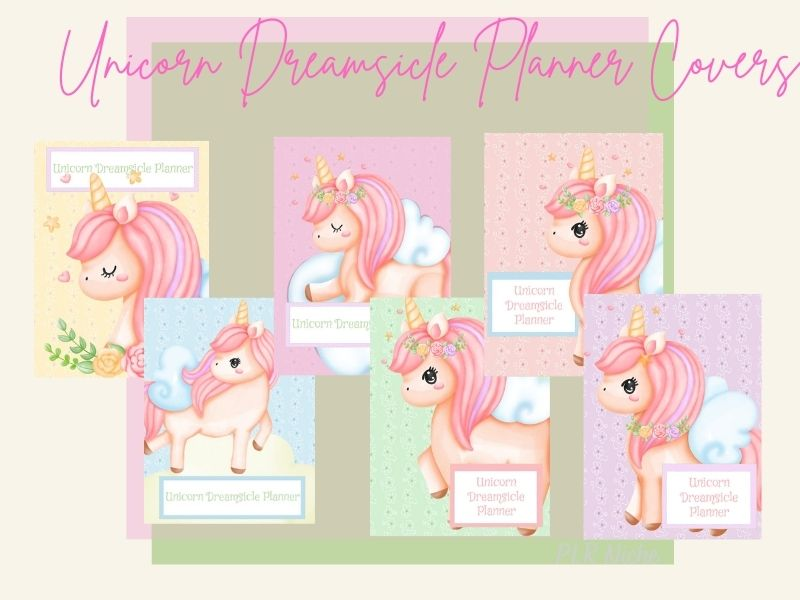 Unicorn Dreamsicle Planner covers pic