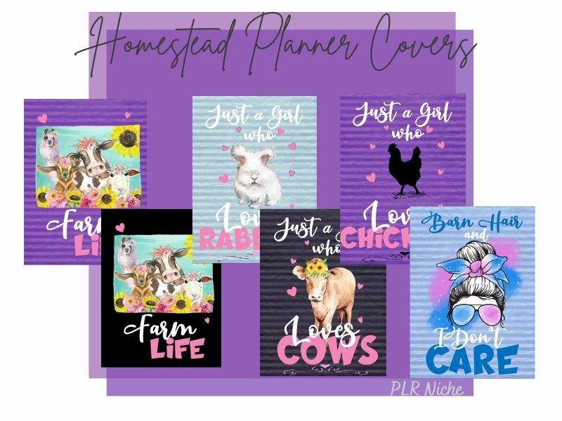 12 Cute Homestead Planner Covers PLR