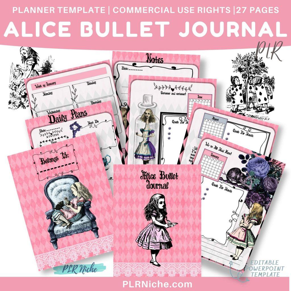 Alice Bullet Journal PLR