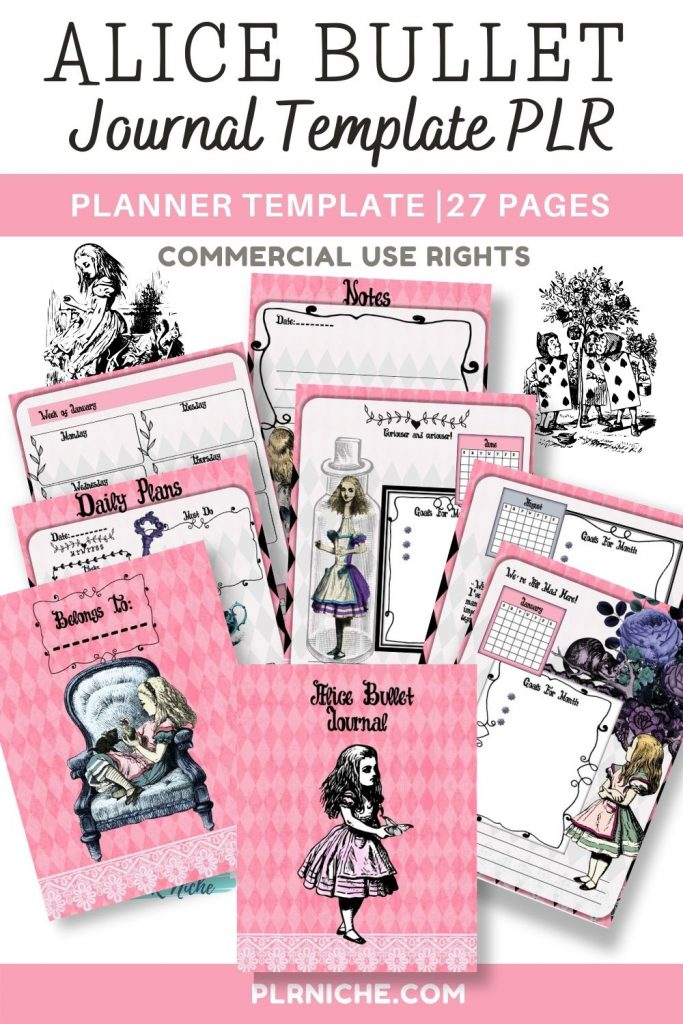 Alice Bullet Journal Template Pin