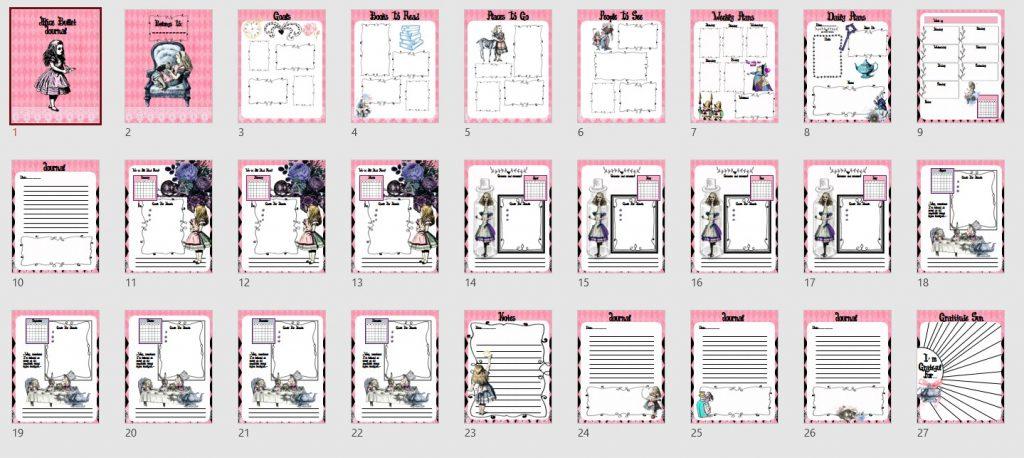 Alice Bullet Journal PLR Template
