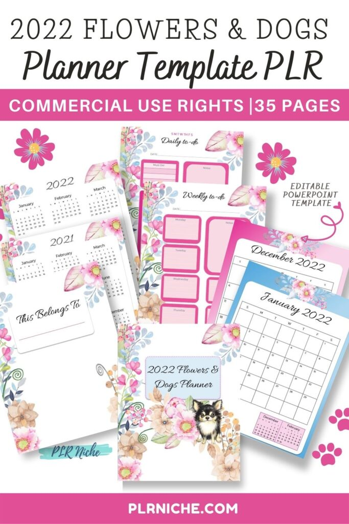 2022 Flowers & Dogs Planner Template