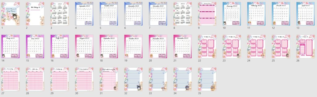 2022 Flowers and Dogs Planner Template